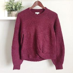 NEW Joie | Stevan Twist Front Sweater Wine Small